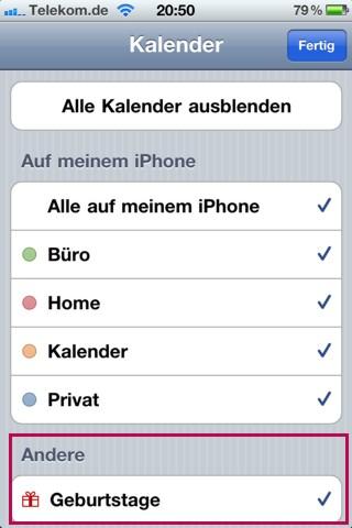 Geburtstagserinnerung iphone