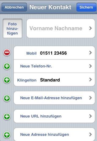 Iphone neuer kontakt