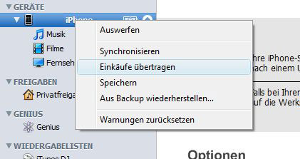 iPhone Apps Backup mit iTunes