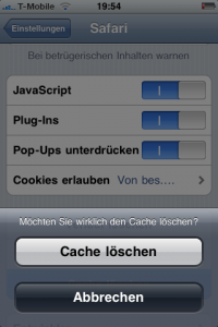 Screenshot - iPhone Cache loeschen