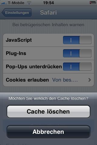 iphone 5 internet cache löschen